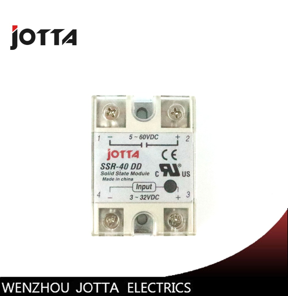 SSR -40DD DC control DC SSR white shell Single phase Solid state relay 40A  input 3-32V DC output 5~60V DC
