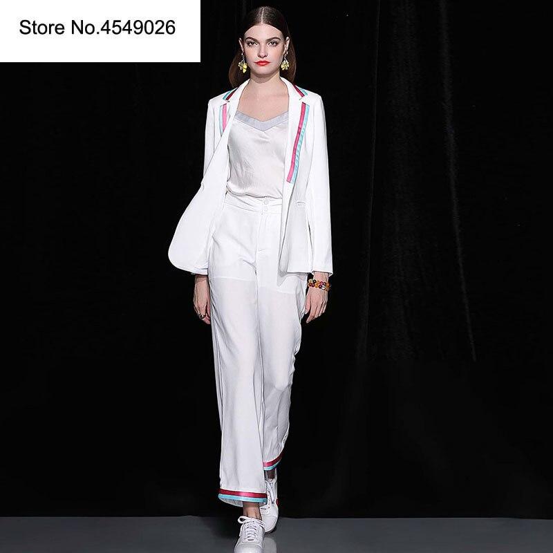 Pantalon Bureau Femmes Piste Designers Ensemble White Pièce Dames Jeu Élégant Costumes Formelle De Blazer Marque 2 Vêtements 2018 D'automne Ensembles OxCqwd0C