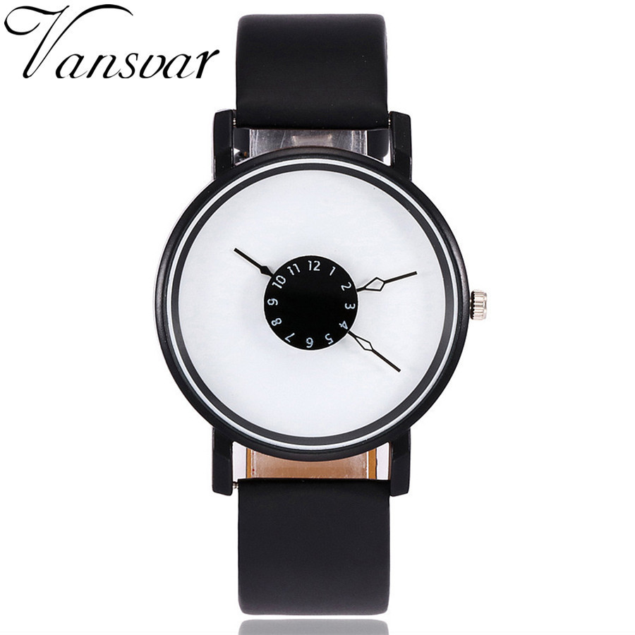Fashion Creative Watches Women Men Quartz Watch Vansvar Brand Unique Dial Design Watch Leather Wristwatches Relogio Feminino 2017 men s gift enmex unique design leather creative dial changing patterns simple fashion for young peoples quartz watches