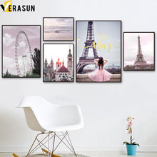 Pink Beach Sea Girl Paris Tower Landscape Wall Art Canvas Painting Nordic Posters And Prints Pictures For Living Room Decor