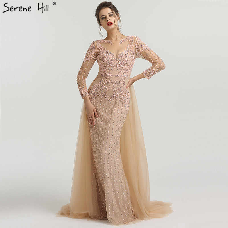 Muslim Mermaid long Sleeves Evening Dresses With Train 2019 Beading Beading  Luxury Sparkle Formal Evening Gowns 08b21490dabc