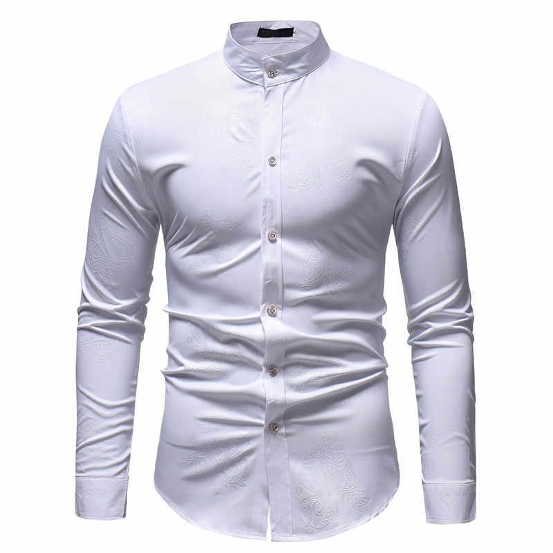 男性ペイズリーシャツ 2018 春秋の新マンダリンカラー長袖ドレスシャツ男性ビジネス結婚式タキシードシャツ男性 Camisas