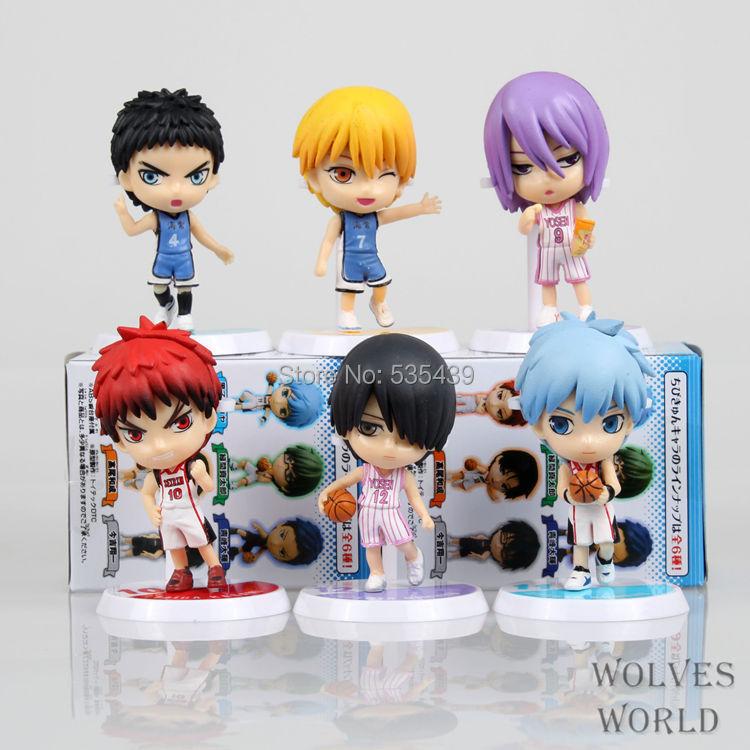 Hot ! NEW 6pcs/set Q version Kuroko Tetsuya Kuroko no Basket Kise Ryota Nendoroid Mini Action Figure Model toys dolls NO BOX