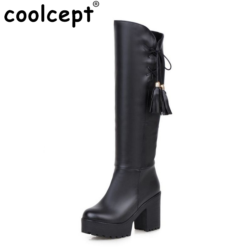 Ladies Over Knee Boots High Heel Winter Women Retro Long Boot Warm Riding Botas Militares Footwear Heels Shoes Size 34-46
