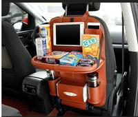 Leather Car Back Seat Pockets Folding Backseat Hanging Holder Storage Cover Auto Car Storage Tidying Support