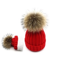 2018 Children Caps Skullies Beanies Girls Hat Real Fur Pompom Hats for Mother and Kids Boys Girls Winter Hats Knitted Cap