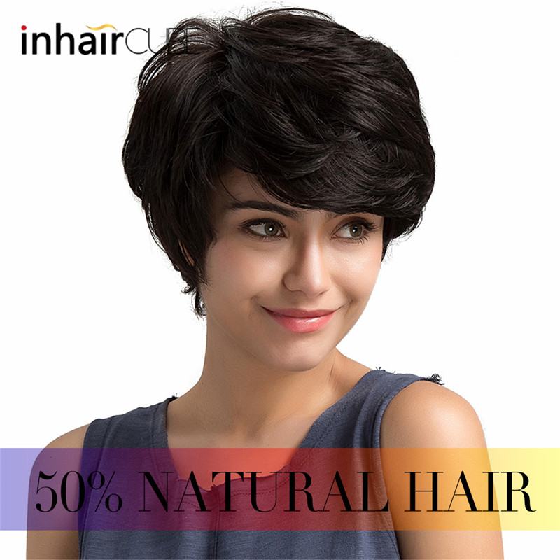 Inhair Cube Short Synthetic Wigs For Women Natural Straight Fluffy Multi-layered Short Hair Wig With Bangs European Style Hair Extensions & Wigs Synthetic Blend Wigs