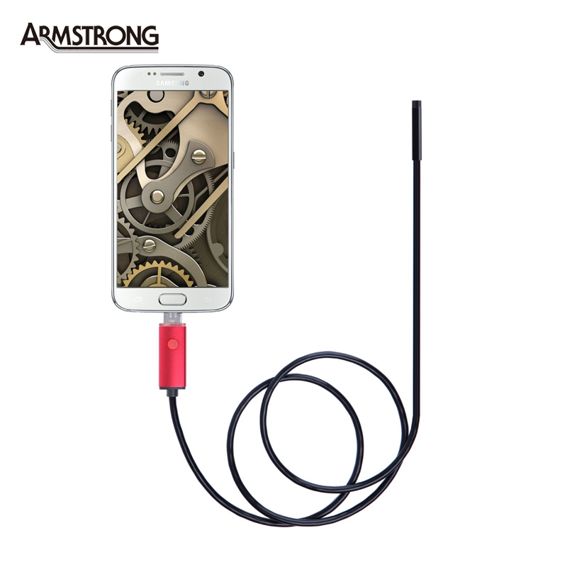 5.5mm Lens Red USB Endoscope IP67 Waterproof Camera 2 In 1 Endoscope 2M, 6 LED Mini Snake Camera Android OTG Phone Endoscopio 7mm lens mini usb android endoscope camera waterproof snake tube 2m inspection micro usb borescope android phone endoskop camera