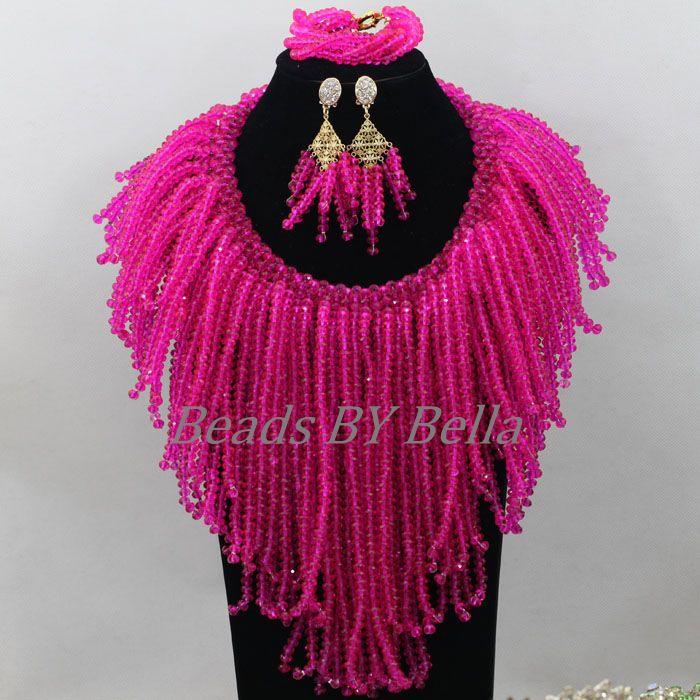 Gorgeous Fuchsia Crystal Beads Jewellery Necklace Set Nigerian Wedding Beads African Bridal Jewelry Sets Free Shipping ABF658Gorgeous Fuchsia Crystal Beads Jewellery Necklace Set Nigerian Wedding Beads African Bridal Jewelry Sets Free Shipping ABF658