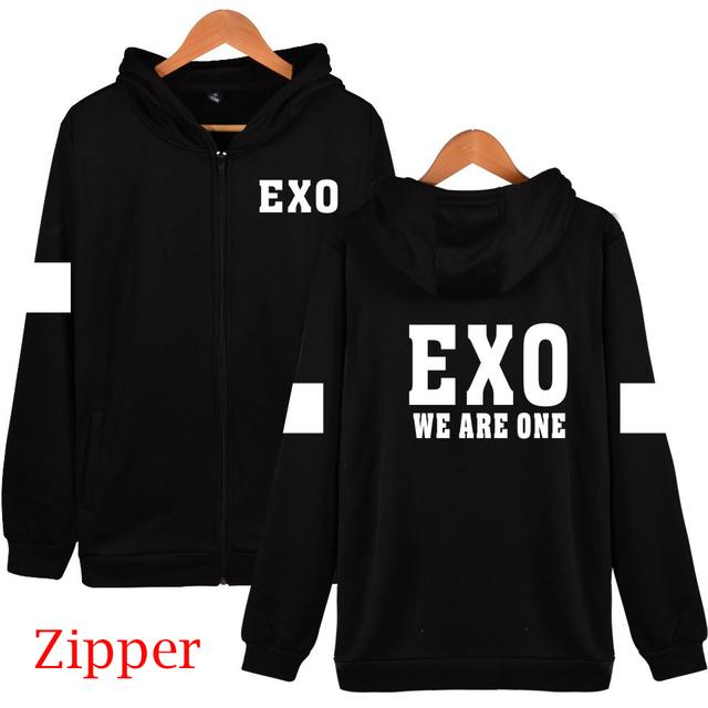 XXS 4XL Outono inverno kpop exo 2016 cantar para você membro nome hoodies impressão preto moda zipper EXP jackets plus size outwear