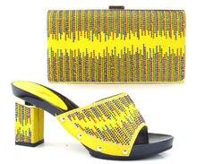 GELB FARBE Italienische Frau Passenden Schuhe Und Tasche Set, hohe Qualität Italienische Schuhe Und Passende Taschen Sets HÖLLE 8 CM