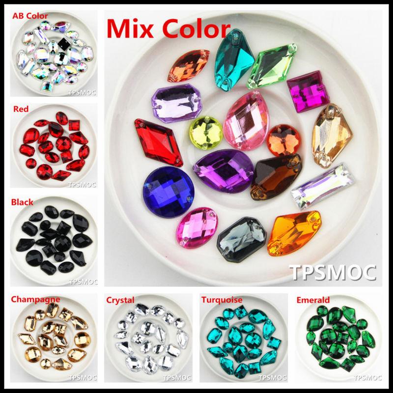 100 SZTUK Mix Rozmiar Mix kolor Akrylowe Loose Flatback szyć na - Sztuka, rękodzieło i szycie - Zdjęcie 1