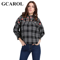 GCAROL 2018 England Style Women Embroidery Floral Blouse Stand Collar Black Plaid Vintage Crop Tops Classic