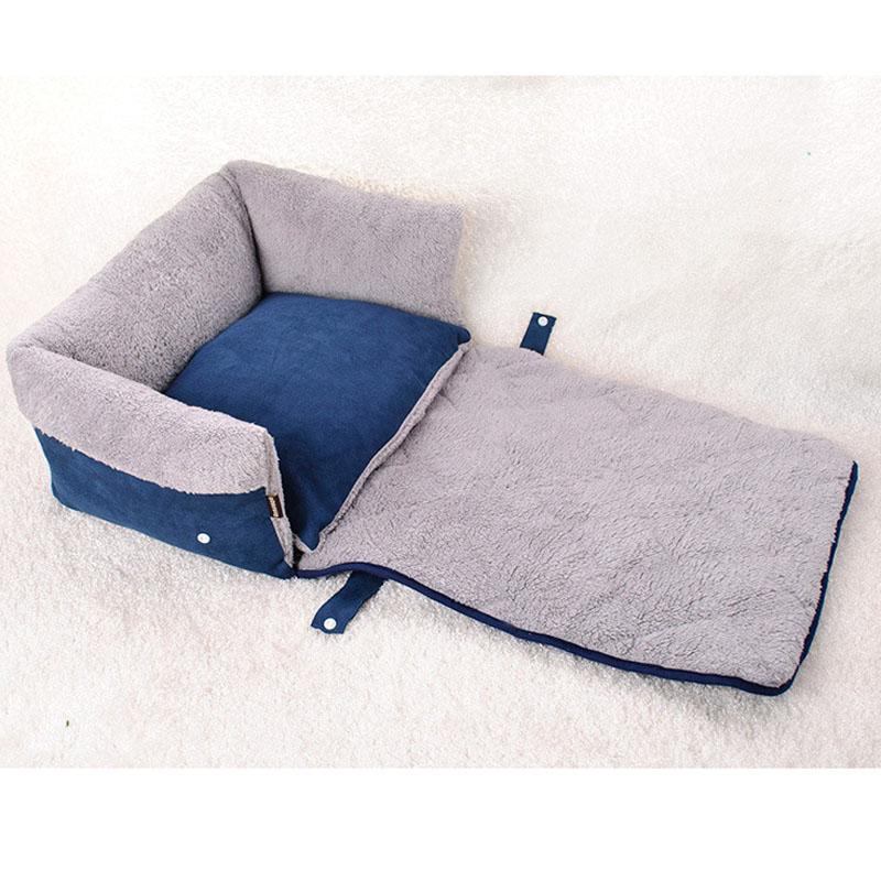 Multifunctional Navy Blue Clamshell Dog Sofa Bed Flip Small Medium Dog  Kennel Blanket Keep Warm Cat Dog House Mat Pet Products-in Houses, Kennels  & Pens