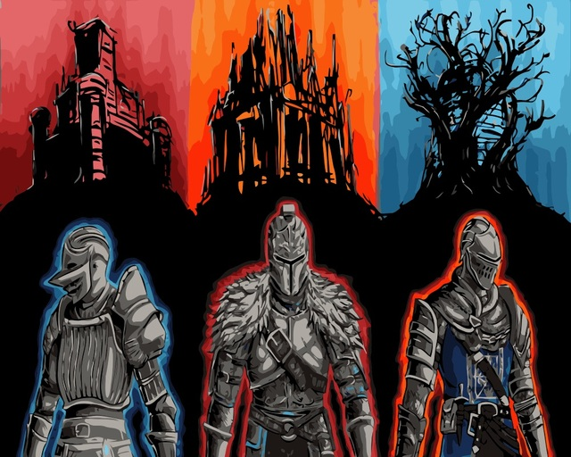 MaHuaf I309 Dark Souls DIY Oil Painting By Numbers On Canvas Hand Painted Digital Home