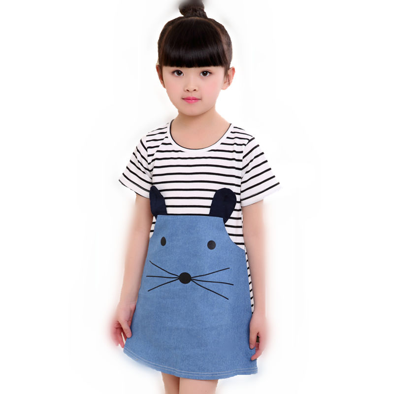 Denim Summer Kids Clothing Cotton Cat Baby Girls Dress Lovely Children Clothing Blue Party Brand Toddler Princess Striped dress 2017 new fashion brand summer kids clothes children clothing girls dress baby kids princess dress summer denim holiday sundress