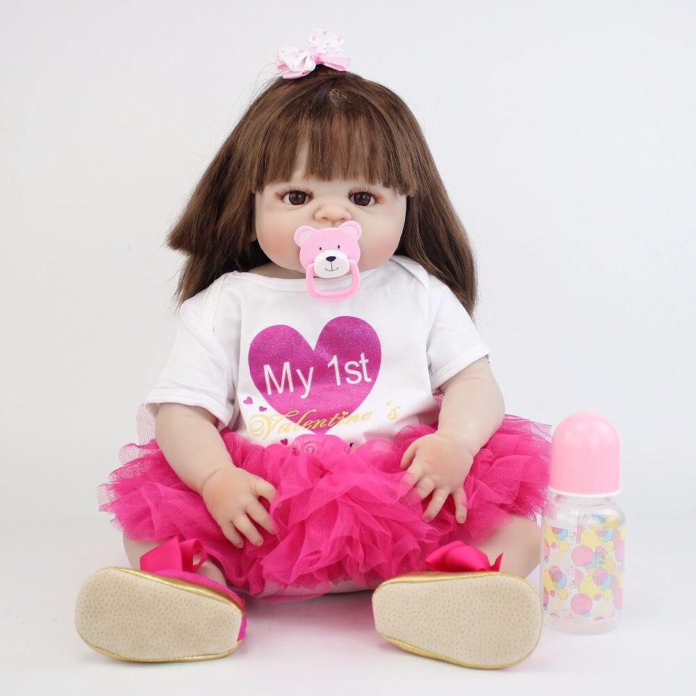 55 cm Full Siliconen Vinyl Body Reborn Baby Pop Speelgoed Als Echte 22 ''Pasgeboren Prinses Peuter Baby Poppen Baden speelgoed Gift Alive Bebe-in Poppen van Speelgoed & Hobbies op  Groep 2