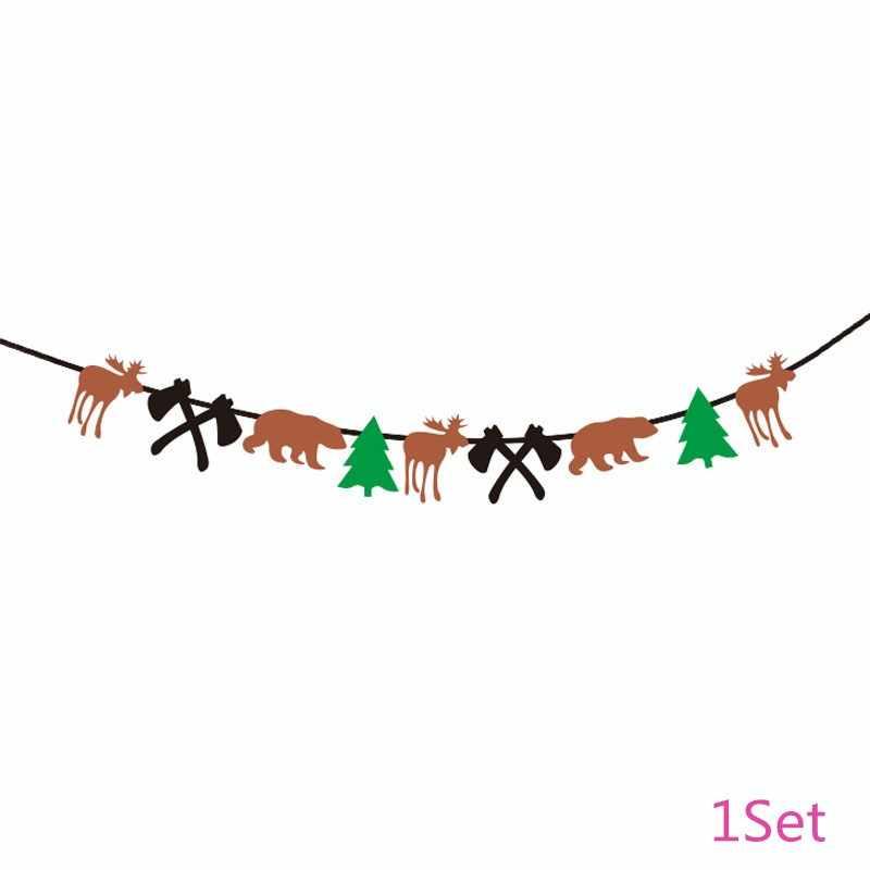 Lenhador Chicinlife Lenhadores Marrom Alces Urso Feliz Aniversário Bandeira Bunting Topper Queque Fontes do Partido de Aniversário Da Menina do Menino