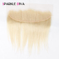 SPARKLE DIVA Hair Straight 613 Blonde Lace Frontal Closure Brazilian Non Remy Human Hair 13