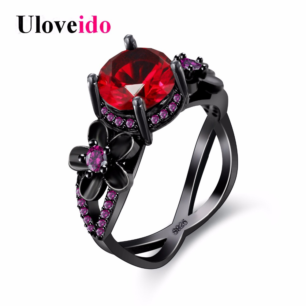 Uloveido Black Rings for Women Decorating Accessories Cubic Zirconia Red Engagement Ring with Stone Gifts for Girls Jewelry Y357
