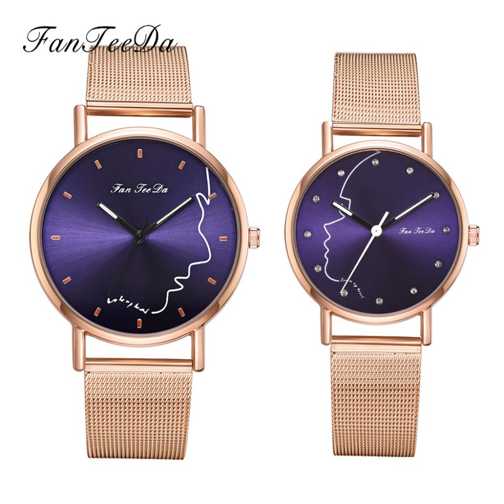 Women & Men Quartz Watches Luxury Stainless Steel Analog Wrist Watches Fashion Sport Lover's Watch Set For Couples Dropshipping