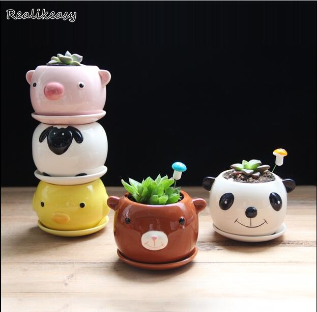 2019 Little Animal Fruits Ceramic Flowerpot Succulent Plants Flower Pot Home Gardening Flower Pots Cartoon Mini Ornaments ZH017