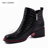 Vendita calda Delle Donne Stivali 2017 Nuove Scarpe Moda Donna Genuino pelle nera Stivaletti Inverno Caldo Neve di Lana tacco Quadrato stivali