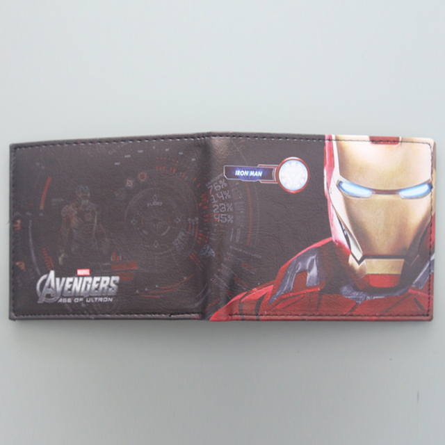 Avengers Iron Man Wallet Marvel Super Hero Purses Leather Small Anime Wallet Bag Credit Card Holder Red Wallet