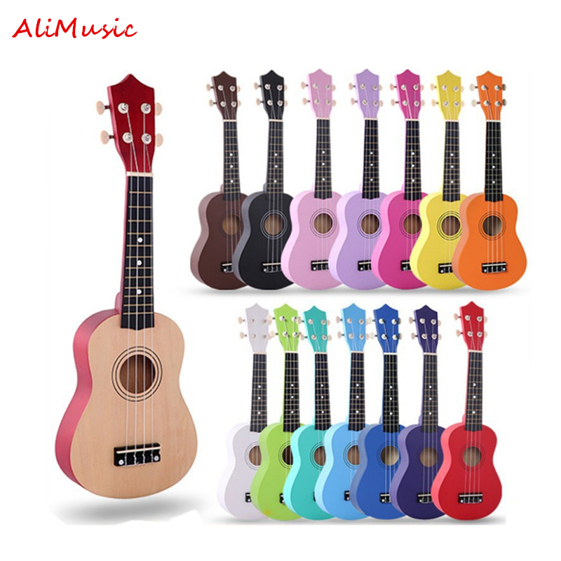 AliMusic Ukulele 21 Inch Children Ukelele Soprano 4 Strings Hawaiian Spruce Basswood Guitar Uke Kids Gift  Music Instrument