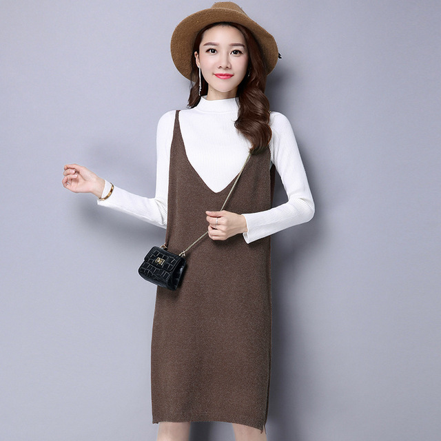 99936a5078c High Quality Causal V-neck Knitted Dresses Women 2017 New Spring Autumn  Winter Knit Sweater Mid-long Loose Dress Vestidos Y1006E