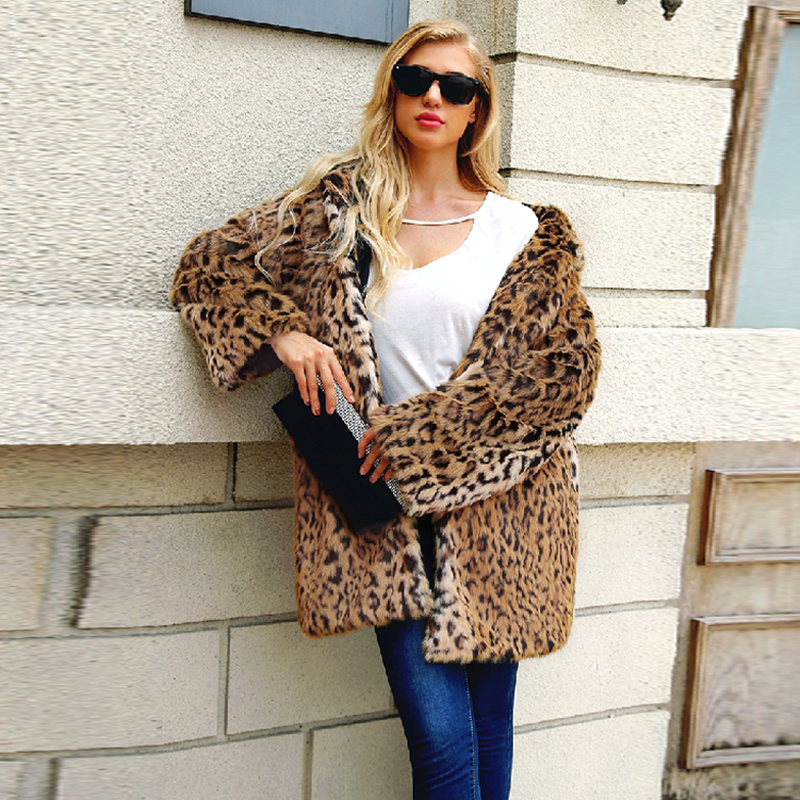 b Leopard Print Winter Women Faux Fur Coat Casual Hoodies Jacket Vintage Long Sleeve Overcoat Ukraine