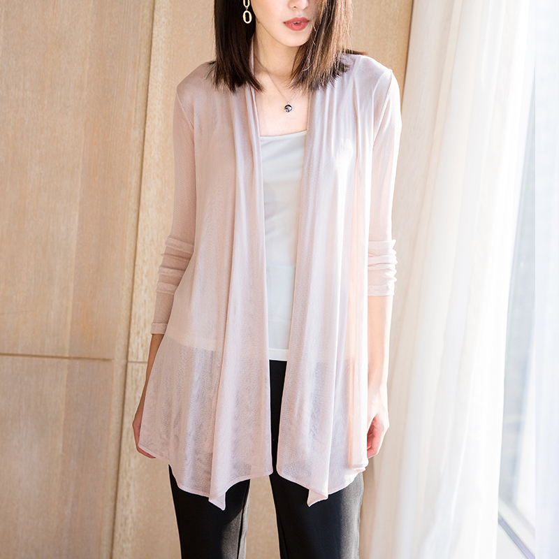 Silk Shawls Coat Heavy In The Long Sleeved Double Mesh Silk Cardigan-in Blouses & Shirts from Women's Clothing    1