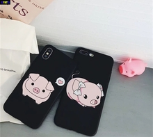 Cyato Cute Candy Color Cartoon Loves Heart Pigs Couples Bow tie Soft Silicon Case Capa For iPhone 6 6S Plus 7 8 X 10 Coque
