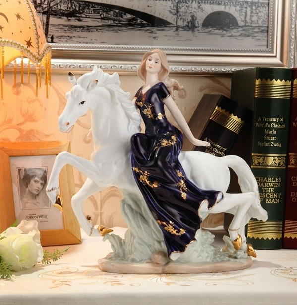 Vintage Porcelain Beauty Girl on Horse Statue Ceramic Damsel Sculpture Art and Craft Ornament for Home Decor and Festival Gift