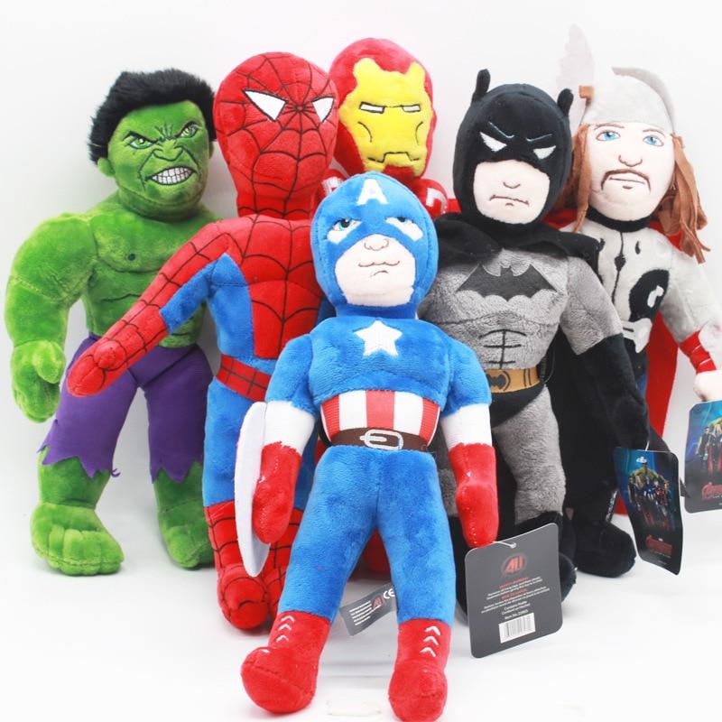 30cm Marvel The Avengers Spiderman Iron Man Hulk Captain America Batman Plush Doll Toy Soft Stuffed Toys For Kids Children Gifts