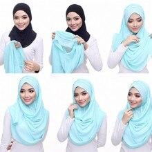 85*180 см мусульманский хиджаб из Джерси шарф женский исламский двойной Петля платок Хиджабы femme musulman простые шали и обертывания