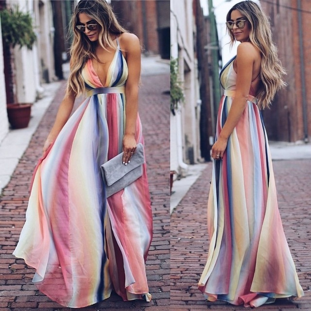 ZOGAA Colorful Long Dress Female Sexy V Neck Halter Women Summer Robe Dress Blackless Loose Beach Evening Party Night Maxi Dress 1