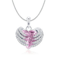 Authentic 925 Sterling Silver Guardian Heart Pink CZ Angel Wings Pendant Necklaces Women Sterling Silver Jewelry