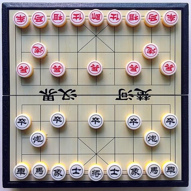 Xiangqi jeu d'échecs chinois magnétique, Portable et pliable, pour enfants et adultes 1