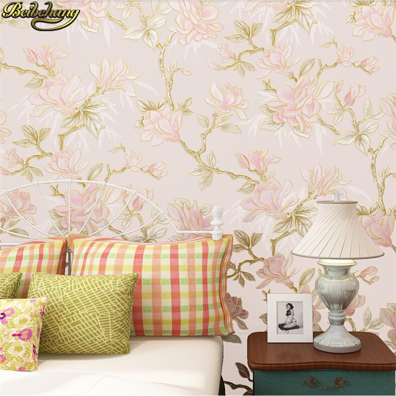 beibehang 3D Wallpapers Pastoral Big Flower American Country Living Room Backdrop Nonwovens Wallpaper Bedroom papel de parede beibehang new italian pastoral large nonwovens wallpapers living room bedroom background wallpaper housekeeping
