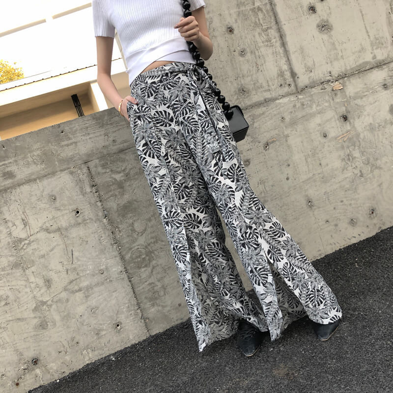 Women New Boho Wide Leg Pants High Elastic Waist Slit Ethnic Style Printed Pants Travel Loose Beach Casual Floral Pants