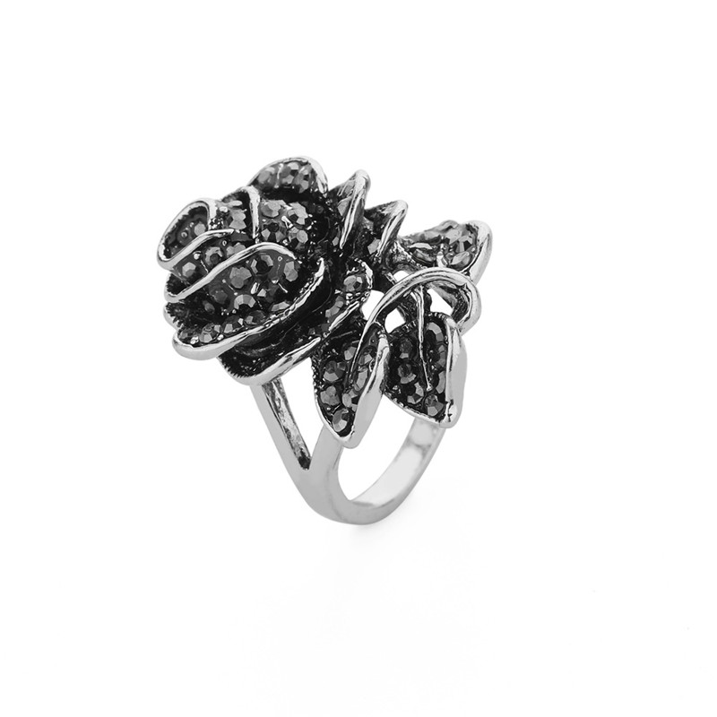 European and American Womens Personality Ring,Luxury Vintage Rose with Diamonds Exaggerated Ring Jewelry Sale Peigen Clearance