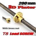 Free shipping 3D Printer T8 screw THSL-200-8D Trapezoidal Lead Screw Dia 8MM Pitch 2mm Lead 8mm Length 200mm with Copper Nut