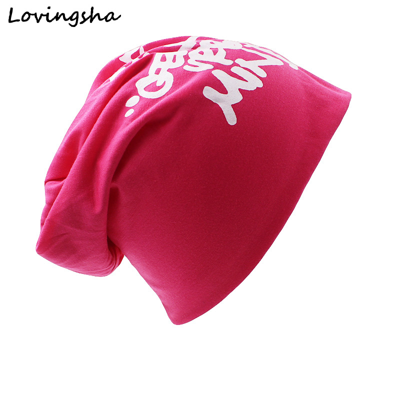 LOVINGSHA Brand Autumn And Winter Hats For Women Ladies thin Letters Design hat Skullies And Beanies Men Hat Unisex HT005 fashionable fulled handwritten letters pattern felt bucket hat for men