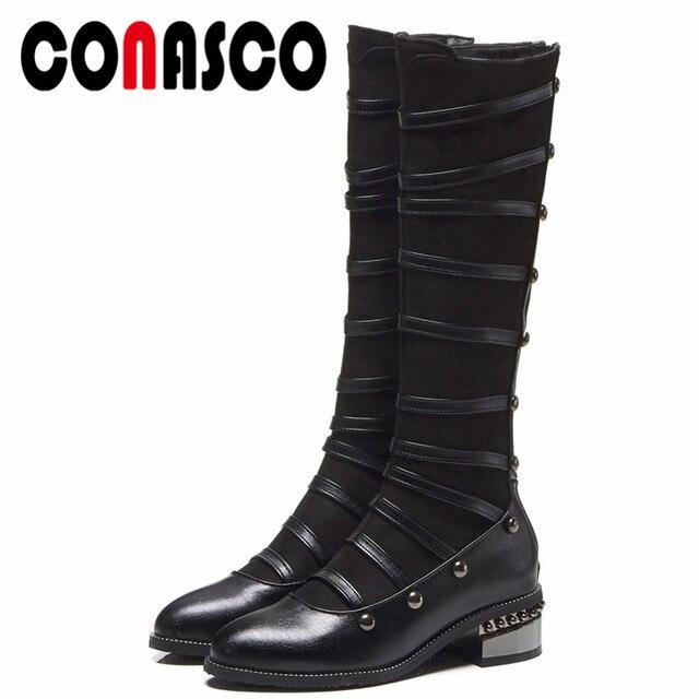 0716dada89e Botas altas hasta la rodilla de las mujeres más nuevas de CONASCO hebillas  de tacones altos