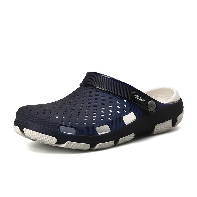 2019 Mode Neue Sommer Männer Strand Sandalen Schuhe Mann Hohl Hausschuhe Schuhe Outdoor Männer Gelee Schuhe Mesh Beleuchtete Lässige Croc Schuhe
