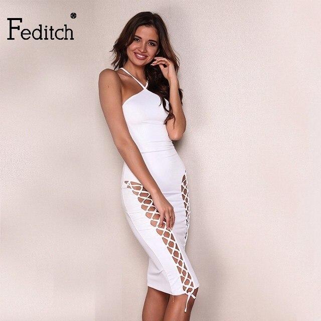 Feditch Summer Women Spaghetti Strap Sexy Celebrity Party Dresses Bandage Bodycon  Dress V Neck Hollow Out Club Wear Vestidos 6b7ba64d166c