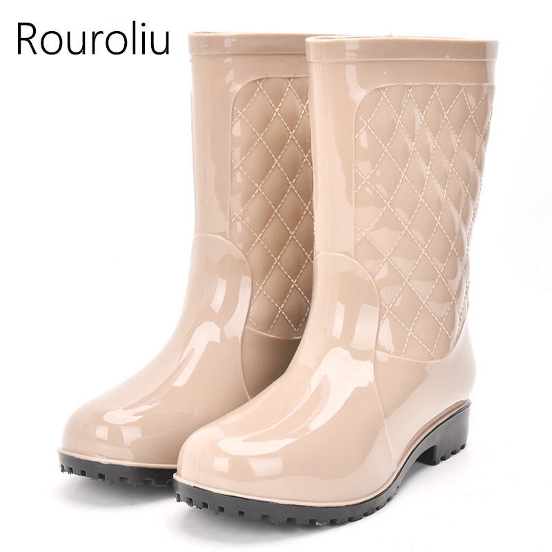 Rouroliu Women Non-slip PVC Rain Boots Waterproof Water Shoes Woman Wellies Mid-Calf Rainboots Winter Warm Inserts RT171 бейсболка obey bandera snapback field camo o s