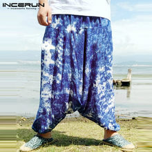Verano Cross-Pantalones Harem pantalones Tie Dye anchos Baggy Hiphop danza  gota entrepierna tamaño grande 5XL playa floja vacaci. b9cce883d33
