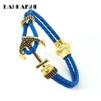 2017 Fashion Men Accessories Charm Bracelet Inlay Zircon Anchor Pattern Bangles Popular Women Jewelry Gift Pulsera